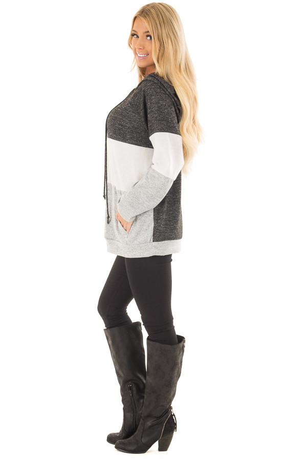 Charcoal, White and Grey Color Block Hoodie side full body