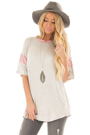 Heather Grey Striped Top with Rose Contrast front closeup