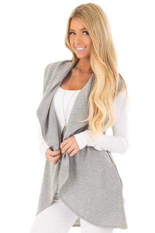 Heather Grey Open Front Vest with Pockets front close up