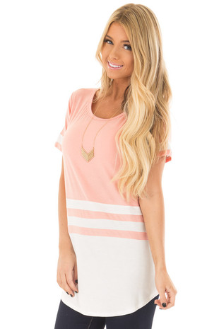 Blush and Ivory Color Block Top front close up