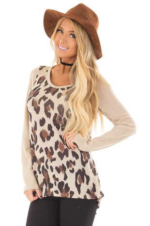 Taupe Leopard Print Top front close up