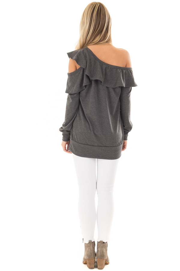 Charcoal Cold Off the Shoulder Top with Ruffle Detail back full body