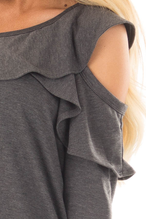 Charcoal Cold Off the Shoulder Top with Ruffle Detail front detail