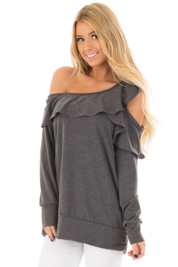 Charcoal Cold Off the Shoulder Top with Ruffle Detail front closeup