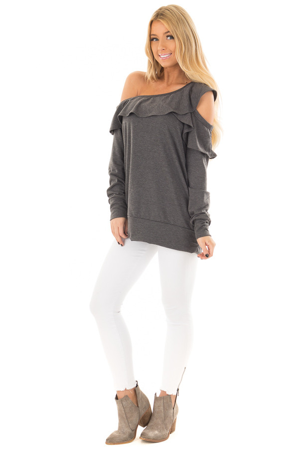 Charcoal Cold Off the Shoulder Top with Ruffle Detail front full body