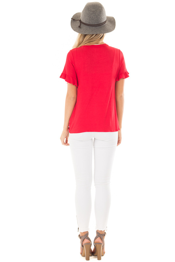 Cherry Red Top with Front Tie and Ruffle Detail back full body