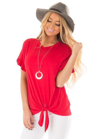 Cherry Red Top with Front Tie and Ruffle Detail front closeup