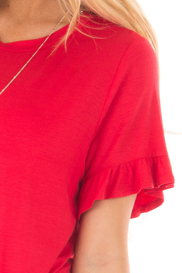 Cherry Red Top with Front Tie and Ruffle Detail front detail