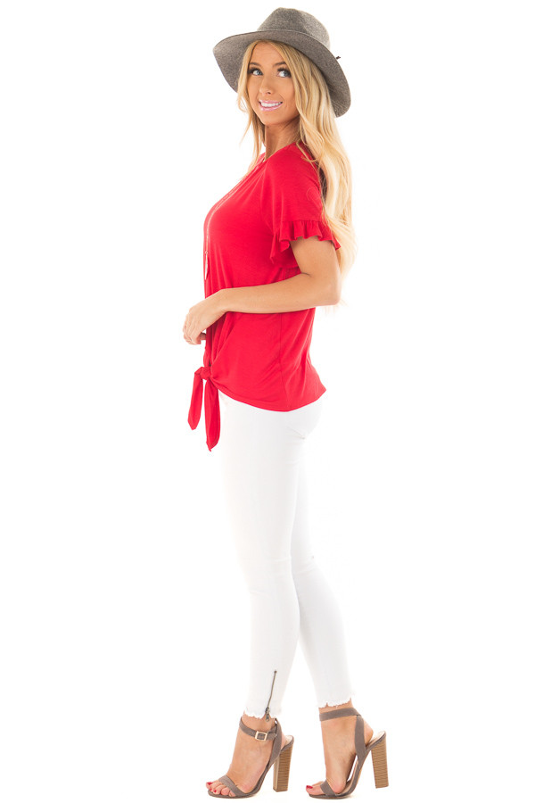 Cherry Red Top with Front Tie and Ruffle Detail side full body