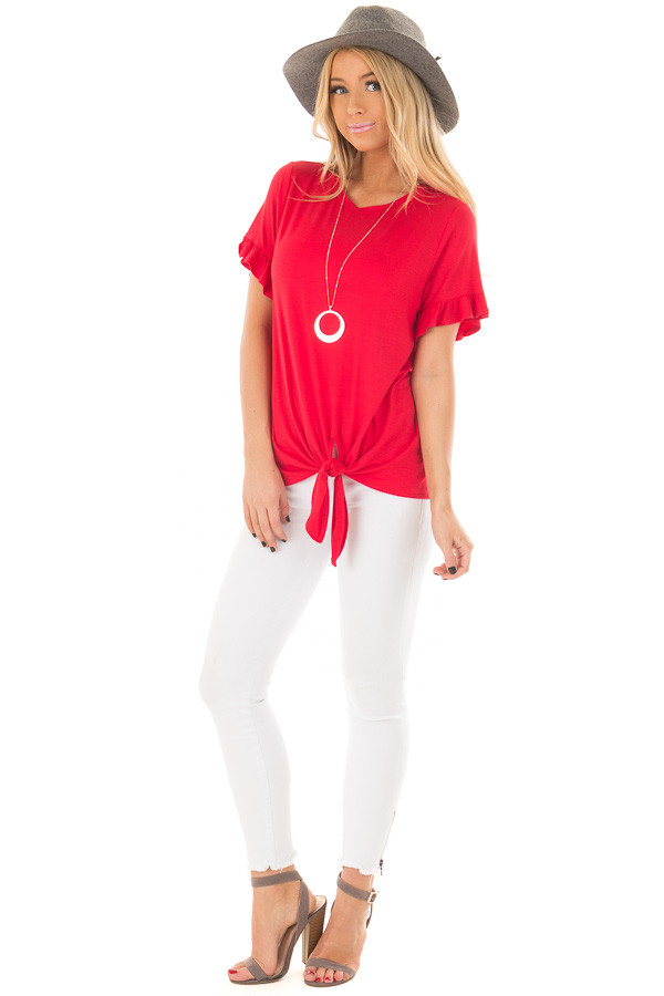 Cherry Red Top with Front Tie and Ruffle Detail front full body