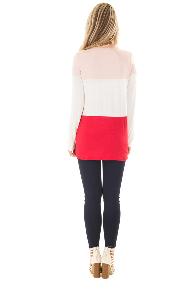 Blush, Ivory and Red Color Block Top back full body