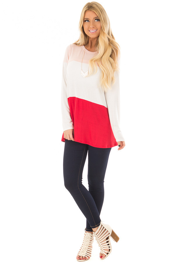 Blush, Ivory and Red Color Block Top front full body