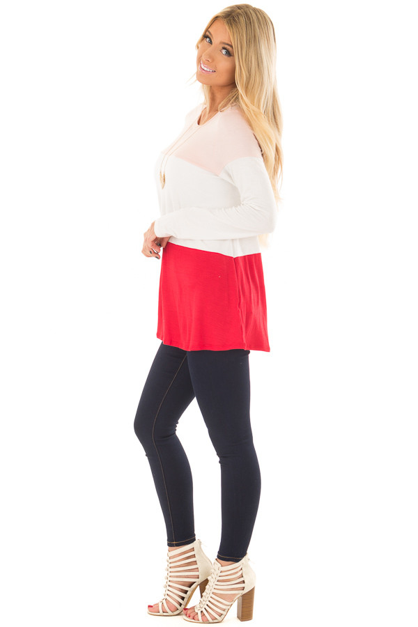 Blush, Ivory and Red Color Block Top side full body