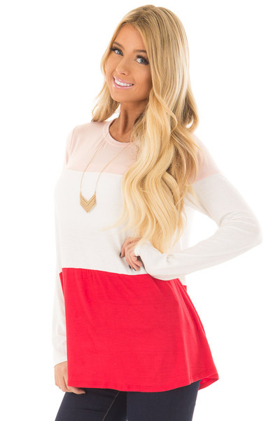 Blush, Ivory and Red Color Block Top front closeup