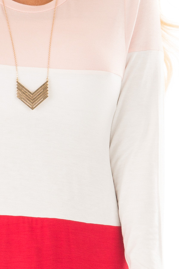 Blush, Ivory and Red Color Block Top front detail
