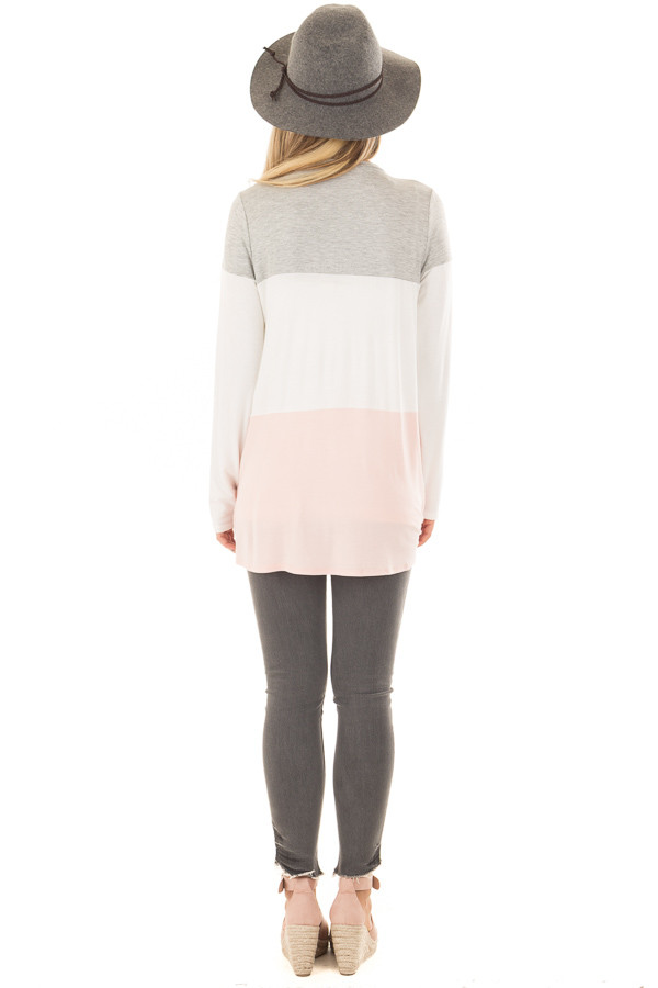 Heather Grey, Ivory and Blush Color Block Top back full body