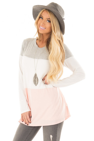 Heather Grey, Ivory and Blush Color Block Top front closeup
