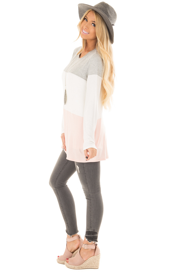 Heather Grey, Ivory and Blush Color Block Top side full body