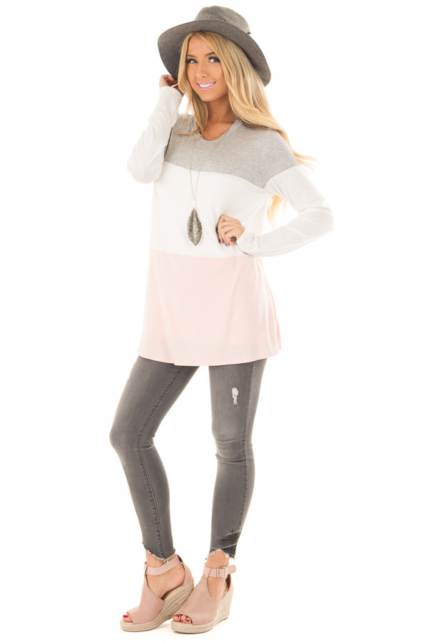 Heather Grey, Ivory and Blush Color Block Top front full body