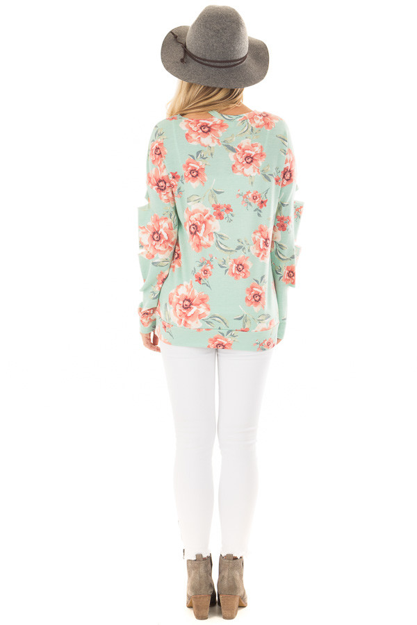 Mint Floral Print Top with Cut Out Sleeves and Neckline back full body