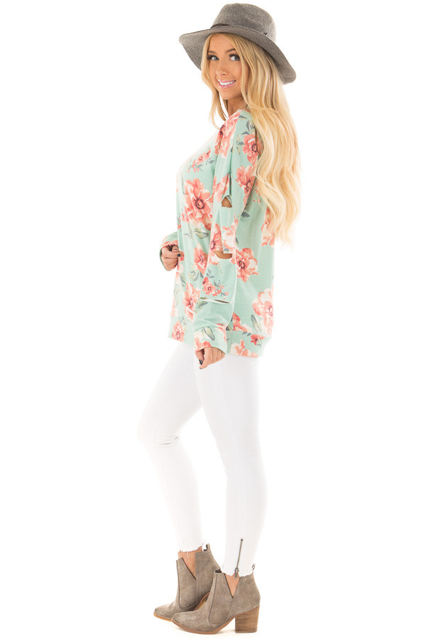 Mint Floral Print Top with Cut Out Sleeves and Neckline side full body