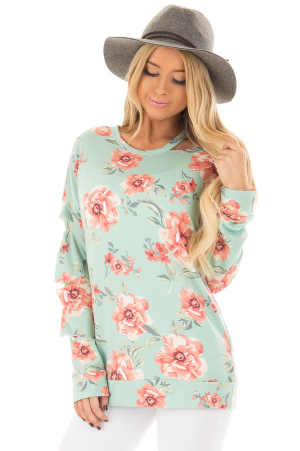 Mint Floral Print Top with Cut Out Sleeves and Neckline front closeup