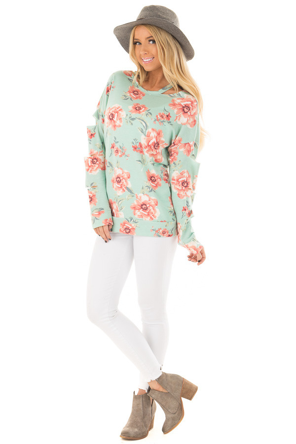 Mint Floral Print Top with Cut Out Sleeves and Neckline front full body