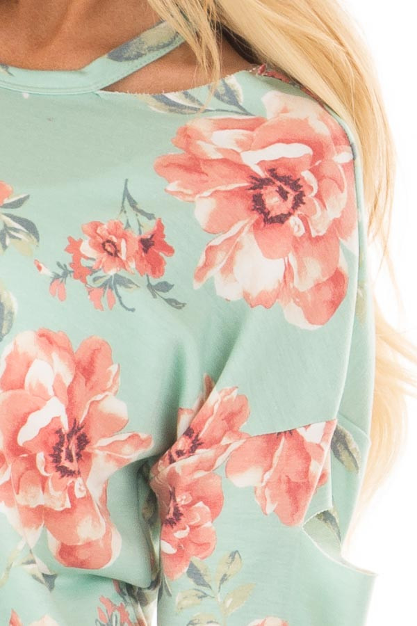 Mint Floral Print Top with Cut Out Sleeves and Neckline front detail