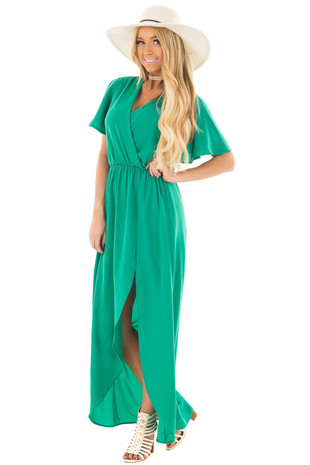 Kelly Green Short Sleeve Wrap Style Maxi Dress front full body