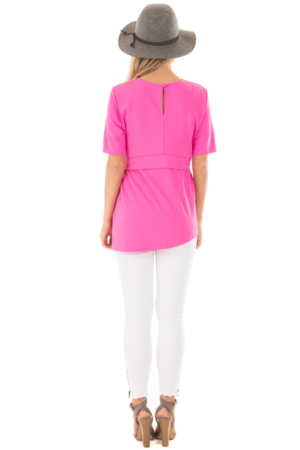 Hot Pink Asymmetrical Top with Waist Tie back full body