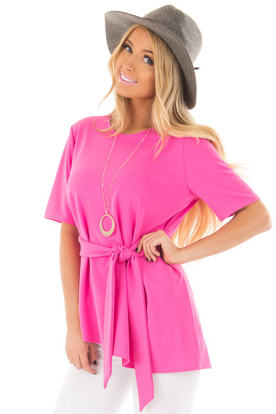 Hot Pink Asymmetrical Top with Waist Tie front closeup