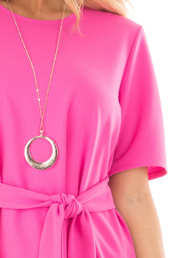 Hot Pink Asymmetrical Top with Waist Tie front detail