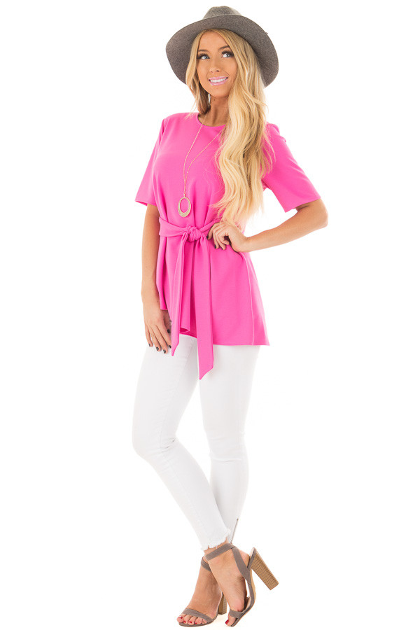 Hot Pink Asymmetrical Top with Waist Tie front full body