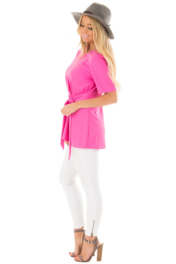 Hot Pink Asymmetrical Top with Waist Tie side full body