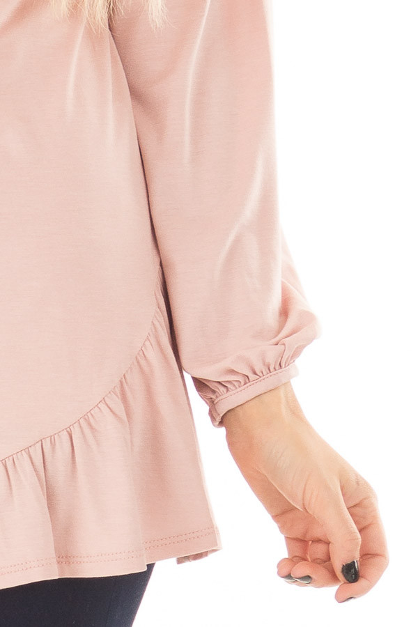 Blush Bubble Sleeve Top with Loose Ruffle Detail front detail
