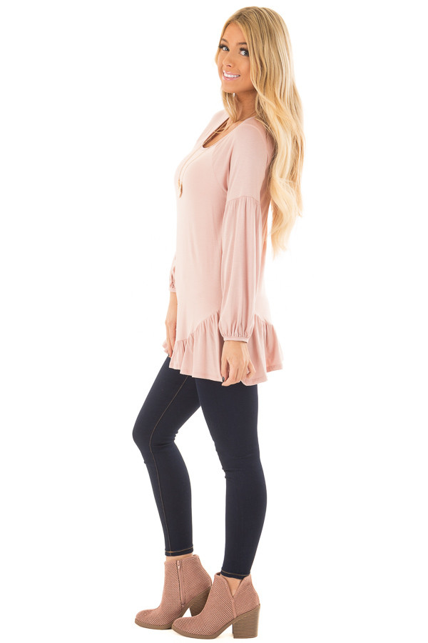 Blush Bubble Sleeve Top with Loose Ruffle Detail side full body