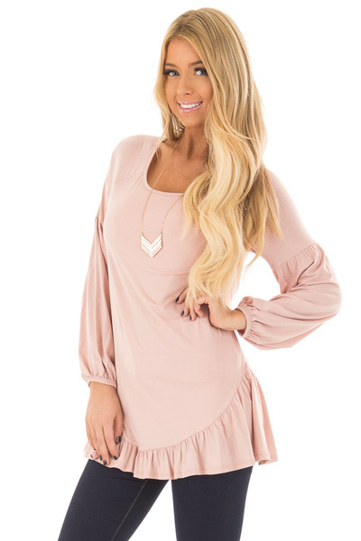 Blush Bubble Sleeve Top with Loose Ruffle Detail front closeup