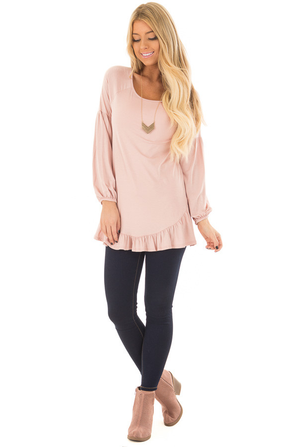 Blush Bubble Sleeve Top with Loose Ruffle Detail front full body
