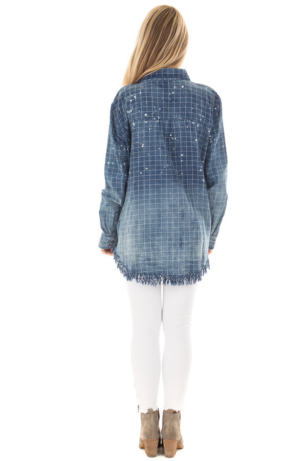 Denim Plaid Ombre Button Up Top with Fringe Detail back full body