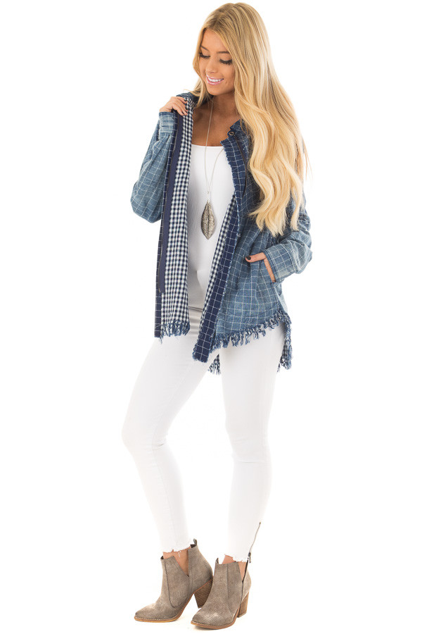 Denim Plaid Ombre Button Up Top with Fringe Detail front full body