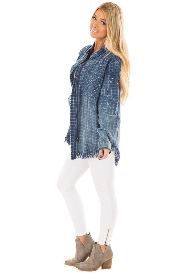 Denim Plaid Ombre Button Up Top with Fringe Detail side full body
