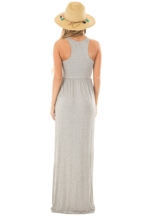 Heather Grey Racerback Tank Maxi Dress with Pockets back full body