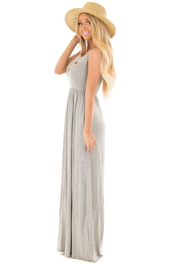Heather Grey Racerback Tank Maxi Dress with Pockets side full body