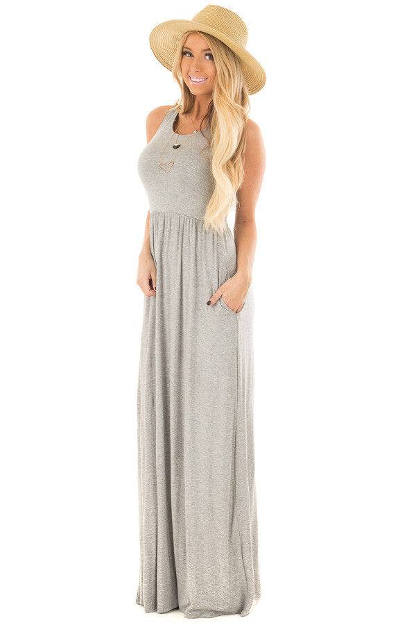 Heather Grey Racerback Tank Maxi Dress with Pockets front full body