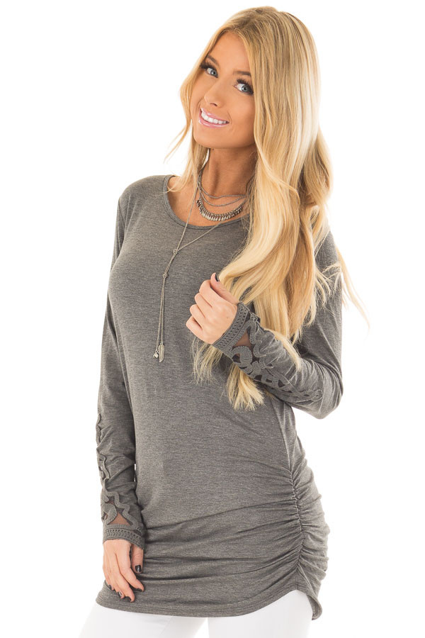 Charcoal Top with Side Ruching and Crochet Sleeve Detail front closeup