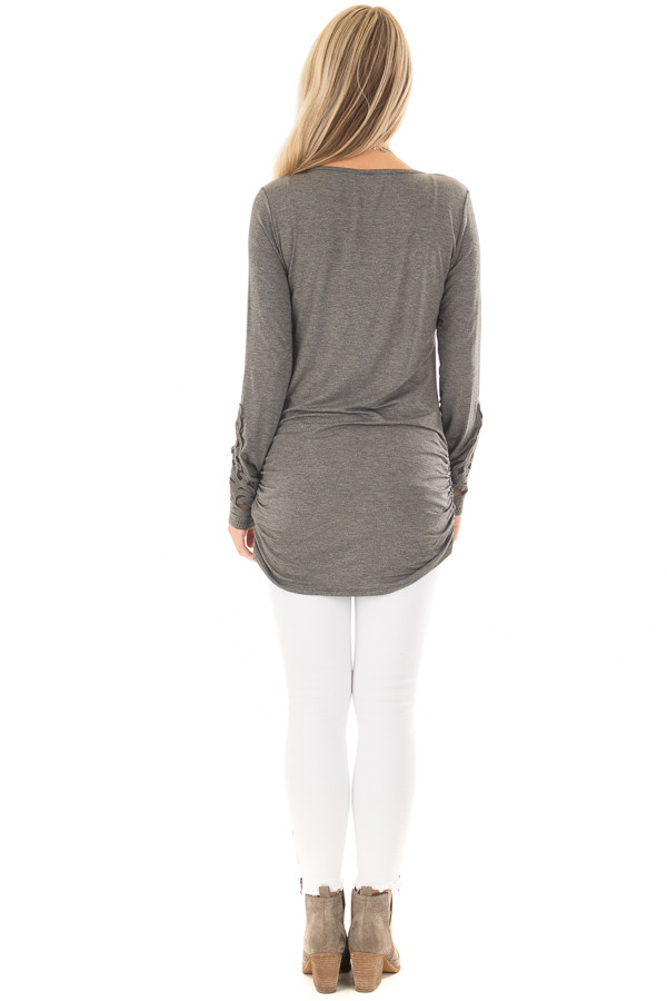 Charcoal Top with Side Ruching and Crochet Sleeve Detail back full body