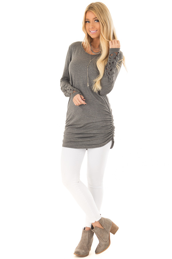 Charcoal Top with Side Ruching and Crochet Sleeve Detail front full body