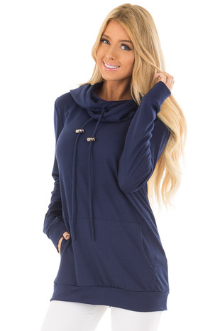 Navy Hoodie with Kangaroo Pocket front closeup