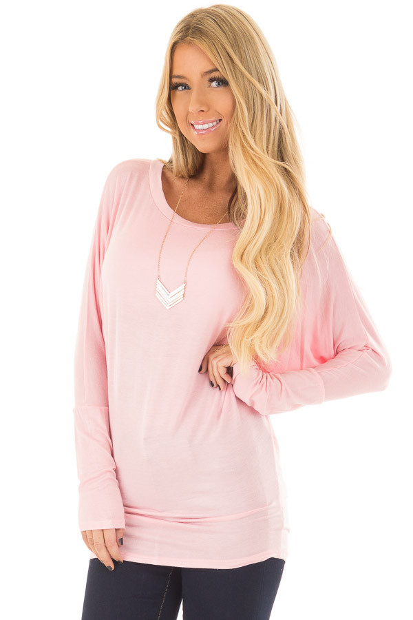 Light Pink Boatneck Top with Dolman Sleeves front closeup