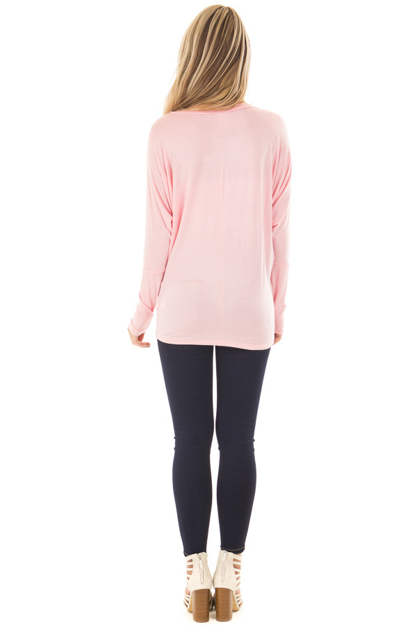 Light Pink Boatneck Top with Dolman Sleeves back full body